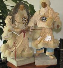 Vintage Tibetan Paper Mache Nomad Couple  Sculptures Hand Made Paulette Cui