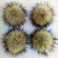 Faux Raccoon Fur Pom Pom Ball With Press Button For Knitting Hat Large 10cm DIY