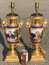 C1830 Pair Of Magnificent French Empire Porcelain Pictorial Urn Vases. (Lamps)