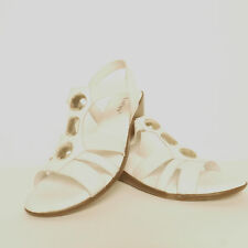 Lotus Esta Womens White Leather Embellished Low Wedge Sandals Seconds £16.99