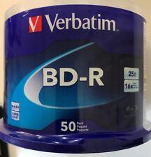 50 pack VERBATIM 16X Blu-Ray BD-R 25GB Branded Logo Spindle Media Disc