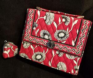 Vera Bradley Deco Daisy Julia Red Pocketbook Mini Kisses Coin Purse Lot 2