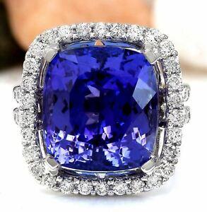 17.16 Carat Natural Tanzanite 14K Solid White Gold Luxury Diamond Ring