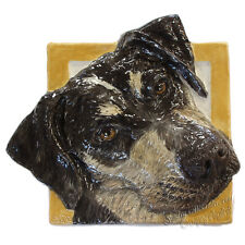 Catahoula Leopard Ceramic dog portrait 3d tile Handmade sculpture Alexander Art