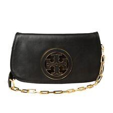 Tory Burch Black Gold Logo Amanda Clutch Crossbody Handbag Bag AUTHENTIC $350