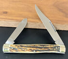 VINTAGE HEN and ROOSTER GUTMANN 2 Blade Stag 4 INCH POCKET KNIFE NM