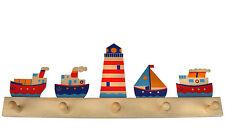 """Kinder-Garderobe """"Leuchtturm+Schiffe"""" 5 Haken 50cm Holz, Kinderzimmer Heller 329"""