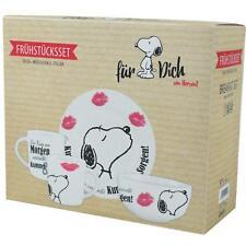 Snoopy Frühstücks-Set Ein Kuss Am Morgen ... - Peanuts Tasse Schüssel Teller Set