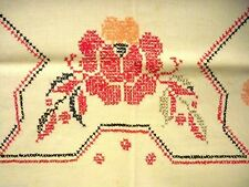 Vintage Kitchen Tablecloth Linen Cross Stitch 1920s Red Black 46 x 63