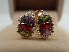 Ladies 14ct 9ct Yellow Gold GF Colorful Gemstone Hoop Huggies Earrings wedding