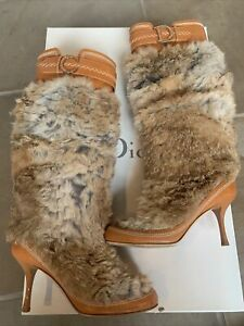 christian dior brown fur& leather boots size 36
