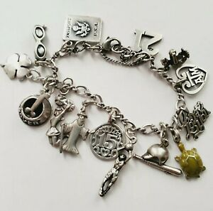 JAMES AVERY Silver Charm Bracelet With 6 James Avery CHARMS + 8 Others -Glasses