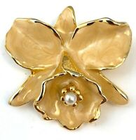 ORCHID BROOCH ENAMEL FAUX PEARL ACCENT GOLD TONE METAL FLORAL FLOWER PIN