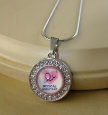 MEDICAL ASSISTANT small round crystal pendant w/necklace jewelry gifts women