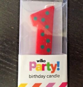 Party birthday 🎂 red dot spotted cake candle first  no 1