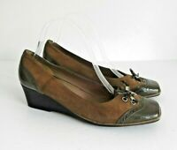 """❤ GEOX Size UK 7 Lovely Brown Suede Leather & Patent Slip on Shoes 2"""" Heel VGC"""