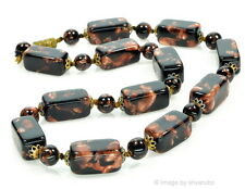 VTG 50'S MURANO VENETIAN BLACK SOMMERSO AVENTURINE GLASS BEAD NECKLACE