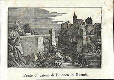 Stampa antica LOKET castello Elbogen CESKA 1841 Antique print starožitný tisk