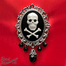 Gothic Steampunk PIRATE SKULL CAMEO BROOCH Pin White Black Crystal Silver P20