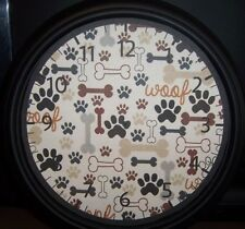 """WALL CLOCK-DOG THEME. Battery operated 9"""" Bones and Paws-Pets-Great Gift-Owner"""