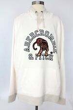 NWT Abercrombie & Fitch Men's Graphic Hoodie Size XL Cream