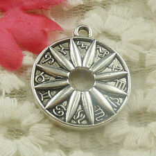 Free Ship 20 pieces Antique silver round flower charms pendant 29x25mm H-4831