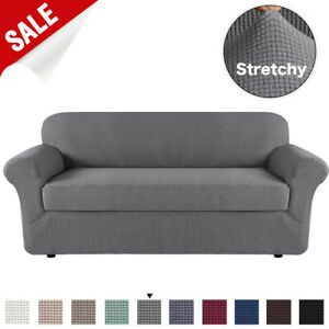 2 Pieces Style Stretch Sofa Cover Couch Cover Slip Cover Small Jacquard Soft