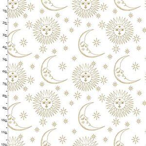 3 Wishes Fabric - Metallic Gold Sun Moon & Stars - Cotton YARD