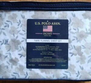 NEW! U.S. Polo Assn Twin Sheet Set 3 piece New Flannel