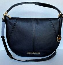 New Michael Kors Bedford Medium Crescent Shoulder Bag Leather Black