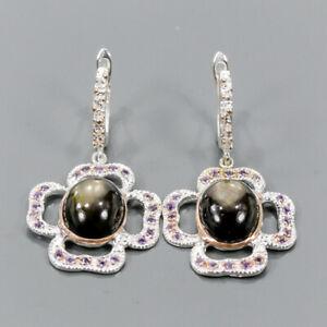 Jewelry Earrings Black Star Sapphire Earrings Silver 925 Sterling   /E57136