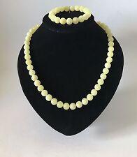 Baltic amber Necklace & Bracelet beads ø10mm 41g white colour