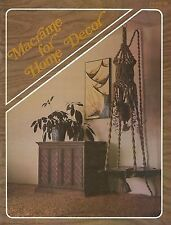 Macrame for Home Decor #819 Craft Book Wall Hanging Plant Hanger Patterns & More