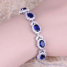 Blue Sapphire White Topaz Silver Link Chain Bracelet 7 inch For Women S0401A