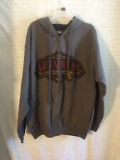Guinness Official Merchandise Gray Hoodie Full Zip Hooded Jacket Men's Large