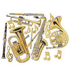 Pack of 15 Gold Foil Musical Instrument Cutouts - Brass Band Party Decorations