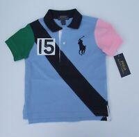 NWT Ralph Lauren Boys S/S Big Pony Banner Stripe Mesh Polo Shirt Sz 5 7 NEW $45