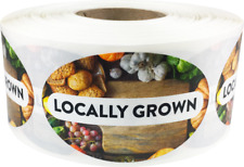 Locally Grown Grocery Food Stickers, 1.25 x 2 Inches, 500 Labels on a Roll