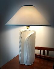 """Mid Century Modern White Rattan Table Lamps- Overall Height 31 1/2"""""""