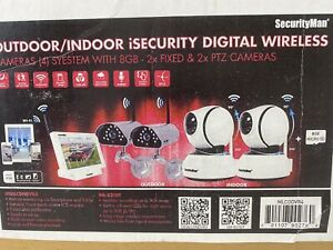SecurityMan iSecurity Digital Wireless 4 Camera System W/8 GB 2 Fixed 2 PTZ RARE