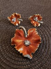 RARE Crown Trifari Vintage Brooch Earring Set Rhinestone Insects bug Enamel Leaf