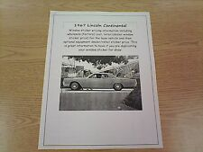 1967 Lincoln Continental factory cost/dealer sticker prices for car & options $$