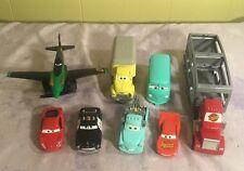 Cars Pixar Lot 8-McQueen Mac Hauler Fillmore Sheriff Dustin Mellows Plane Tow