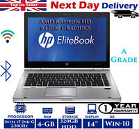"Hp Elitebook 8460p 14"" Laptop Intel i5 2nd-Gen 2.50Ghz 4GB RAM 320GB HDD Win-10"