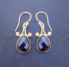 Gold Plated Sterling Silver Black Onyx Handmade Pretty Dangle Earrings For GIFT