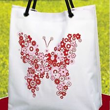 """UV COLOR CHANGING COATED CANVAS TOTE BAG 14½""""L x 6¼""""D x 16""""H BUTTERFLY WHITE"""