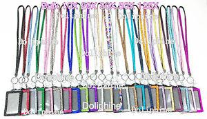Bulk Wholesale Multi-Color Bling Rhinestone LANYARD & Vertical ID Badge Holder