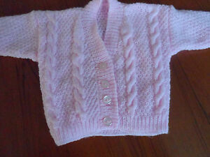 """Hand knitted baby girl cable v-neck cardigan 12"""" - 18"""" chest"""