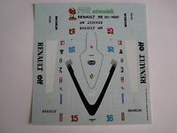 F1 DECALS KIT 1/43 RENAULT RE 20 F1 1980 ARNOUX-JABOUILLE 1/43 DECALS