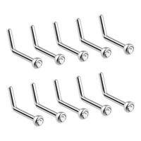 10x CZ GEM L-Shape Nose Screw Rings Stud Wholesale Piercing 20gauge (0.8mm)  T1
